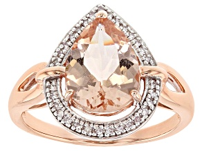 Womens Ring Pear Shape Pink Morganite White Diamond 10k Rose Gold