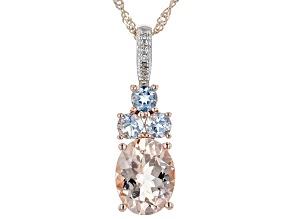 Peach Morganite 10k Rose Gold Pendant With Chain 1.68ctw