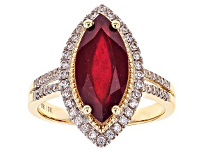 Red Ruby 10k Yellow Gold Ring 4.07ctw