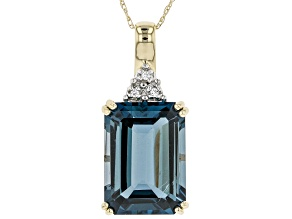 London Blue Topaz 10k Yellow Gold Pendant With Chain 8.32ctw