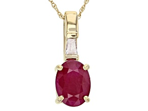 Red Ruby 14k Yellow Gold Pendant with Chain 1.49ctw