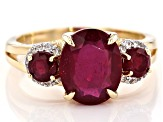 Red Mahaleo® Ruby 10k Yellow Gold Ring 4.24ctw