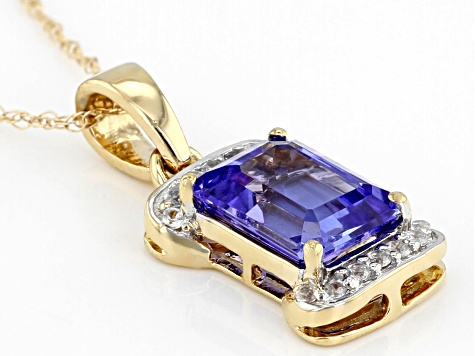 Blue Tanzanite 10k Yellow Gold Pendant With Chain 1.46ctw