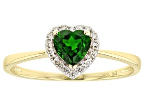 Green Chrome Diopside 10k Yellow Gold Ring .52ctw.