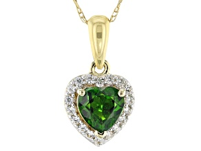Green Chrome Diopside 10k Yellow Gold Pendant With Chain .52ctw