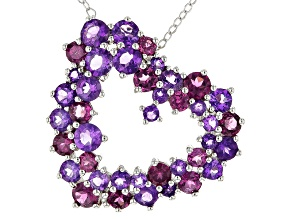 Purple Amethyst Silver Heart Pendant With Chain 3.65ctw