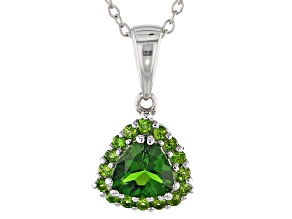 Green Chrome Diopside Silver Pendant With Chain 1.30ctw