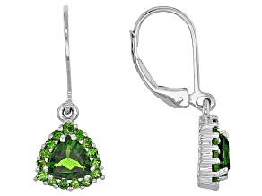Green Chrome Diopside Sterling Silver Earrings 1.95ctw