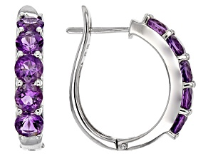 Purple Amethyst Sterling Silver Earrings 3.65ctw