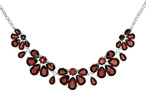 Red Garnet Sterling Silver Necklace 26.62ctw