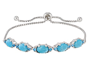 Blue Sleeping Beauty Turquoise Silver Bolo Bracelet .26ctw