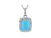 Blue Turquoise Silver Pendant With Chain .48ctw