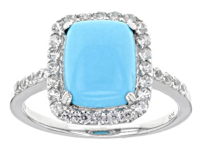 Blue Turquoise Silver Ring .54ctw