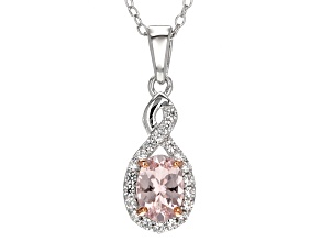 Pink Morganite Silver Pendant With Chain .82ctw