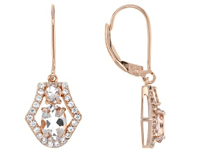 Pink morganite 18k rose gold over sterling silver earrings 1.97ctw