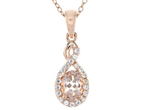 Pink morganite 18k rose gold over silver pendant with chain .82ctw