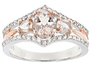Pink Morganite Silver And 18k Rose Gold Over Silver Two-Tone Ring 1.30ctw