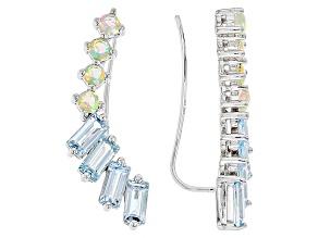 Glacier Topaz™ Sterling Silver Climber Earrings 3.32ctw