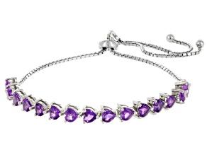 Purple Amethyst Silver Bolo Bracelet 3.90ctw