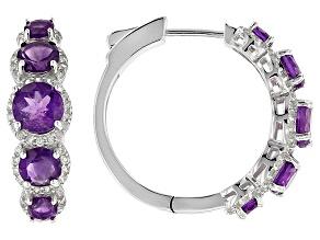 Purple Amethyst Silver Earrings 4.46ctw