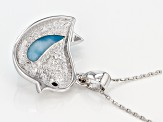 Blue Larimar Silver Bird Pendant With Chain