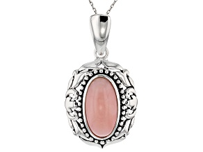 Pink Peruvian Opal Silver Enhancer With Chain