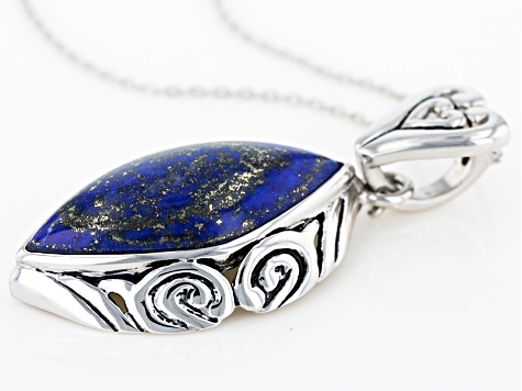 Blue Lapis Lazuli Sterling Silver Enhancer With Chain
