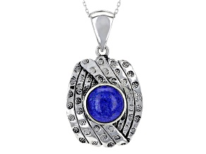 Blue Lapis Lazuli Silver Pendant With Chain