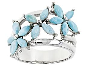 Blue Larimar Sterling Silver Floral Ring