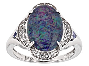 Multicolor Austrailian Opal Triplet Sterling Silver Ring .39ctw