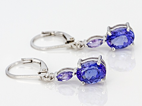 Blue Tanzanite Silver Earrings 2.61ctw