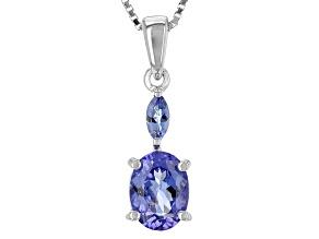 Blue Tanzanite Silver Pendant With Chain 1.45ctw