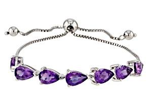 Purple Amethyst Sterling Silver Bolo Bracelet 5.53ctw