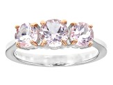 Pink Morganite Sterling Silver 3-Stone Ring 1.40ctw