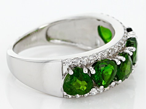 Green Chrome Diopside Sterling Silver Band Ring 3.35ctw