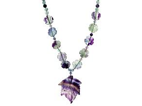 Multicolor Fluorite Silver Leaf Necklace