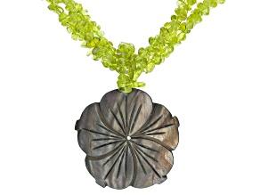 Green Peridot Silver Necklace