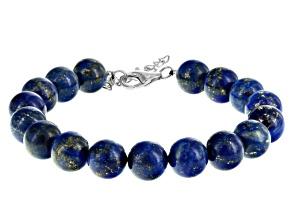 Blue Lapis Lazuli Silver Bracelet