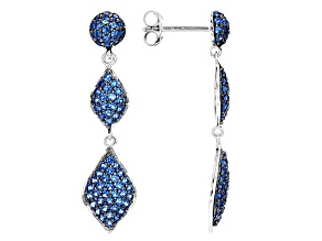 Blue Lab Created Spinel Silver Earrings 1.36ctw