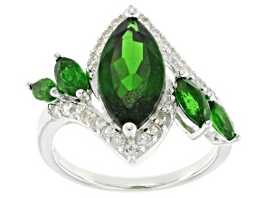 Green Chrome Diopside Sterling Silver Ring 4.16ctw