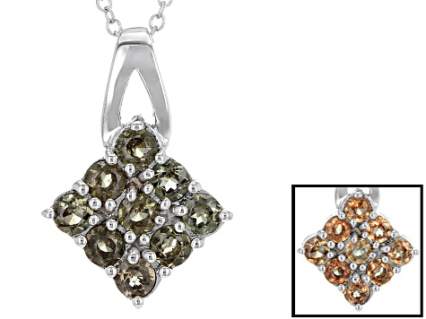 Pink Color Change Garnet Silver Pendant With Chain 1.01ctw
