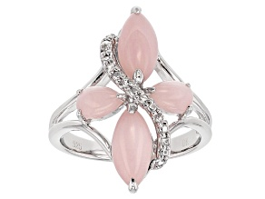 Pink Peruvian Opal Sterling Silver Cross Ring .05ctw