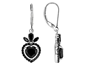 Black Spinel Sterling Silver Dangle Earrings 4.09ctw
