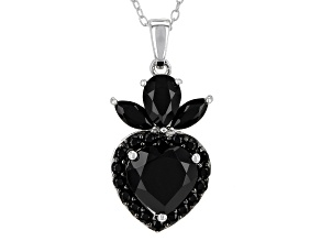 Black Spinel Sterling Silver Pendant With Chain 4.32ctw