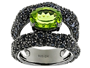 Green Peridot Black Tone Silver Ring 7.67ctw