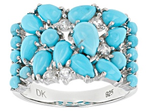 Blue Turquoise Sterling Silver Ring .28ctw