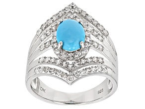 Blue Sleeping Beauty Turquoise Sterling Silver Ring 1.68ctw