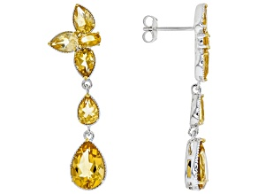 Golden Citrine Sterling Silver Earrings 5.82ctw