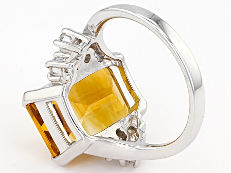 Yellow Citrine Sterling Silver Ring 6.51ctw