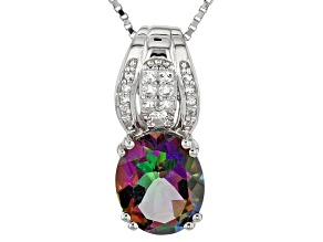 Green Mystic Topaz® Silver Pendant With Chain 4.21ctw